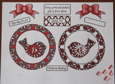 coloring christmas bird decoration from delightfulpaths.com