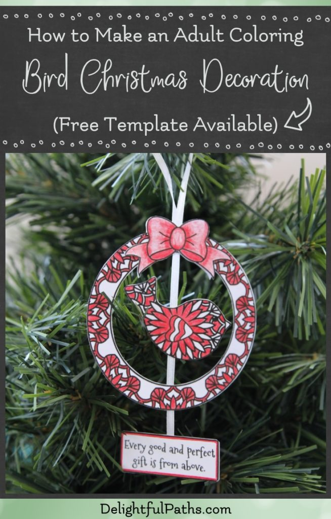 This tutorial will show you how to make an adult coloring Christmas bird decoration with Bible verse in 5 easy steps. Click through to see the instructions and download the free template