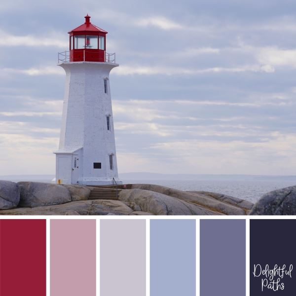 lighthouse on a rocky coast coastal color palette