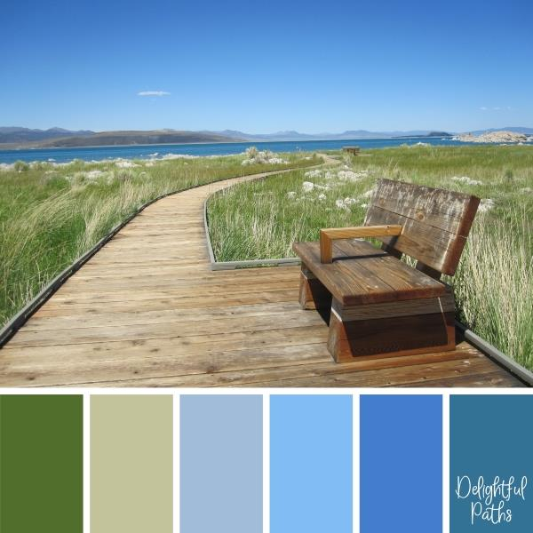 boardwalk along an inlet Coastal Color Palette