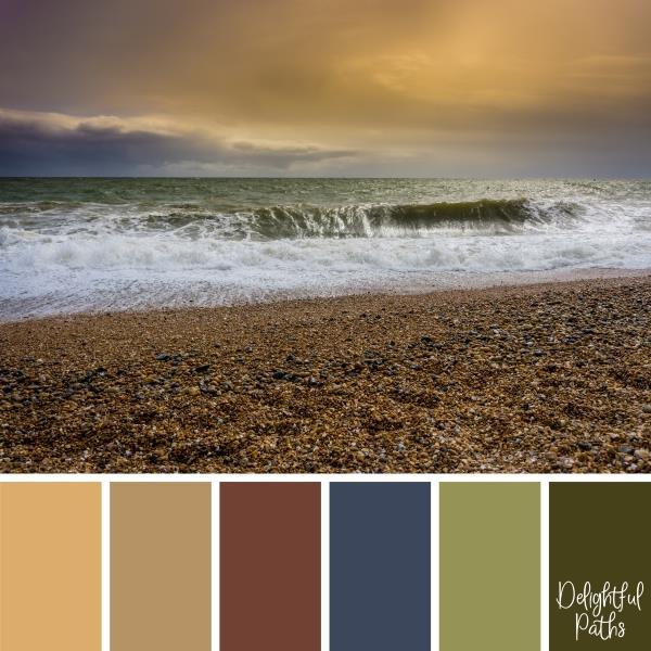 ocean waves crashing on a rocky shore Coastal Color Palette