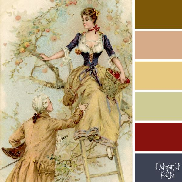 Man and Lady Picking Apples - pretty vintage color palette