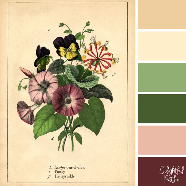 Morning Glories, Pansies, and Honeysuckle Bouquet - vintage color palette from image