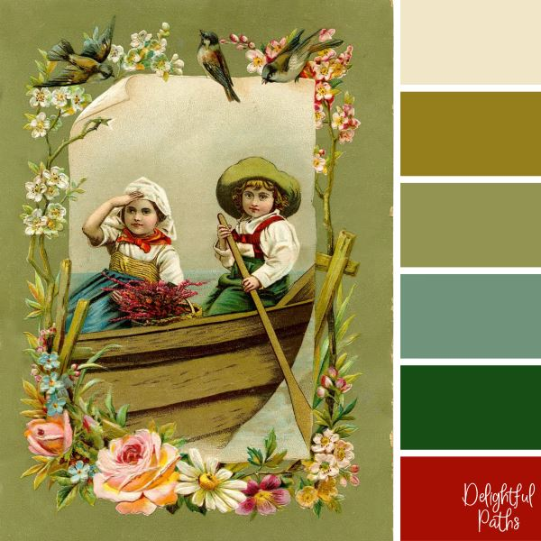 Children in a Boat with Floral Border - vintage color palette inspiration