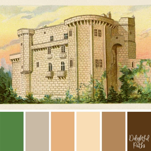 Old Castle in the Sunset - vintage inspired color palette