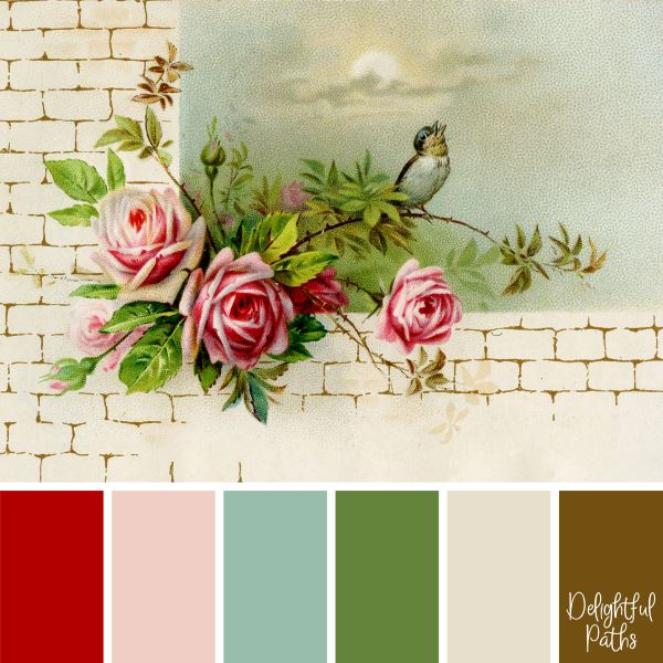 Vintage Roses on a Wall - vintage color palette