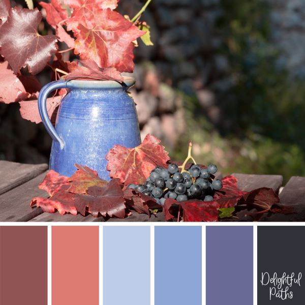 Bunch of Grapes with a Vase of Fall Leaves - harvest / thanksgiving color palette DelightfulPaths.com