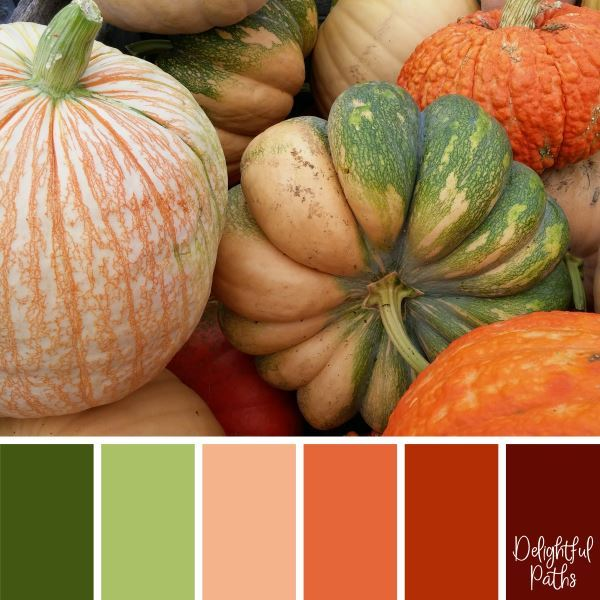 Orange and Green Pumpkins - harvest / thanksgiving color palette DelightfulPaths.com