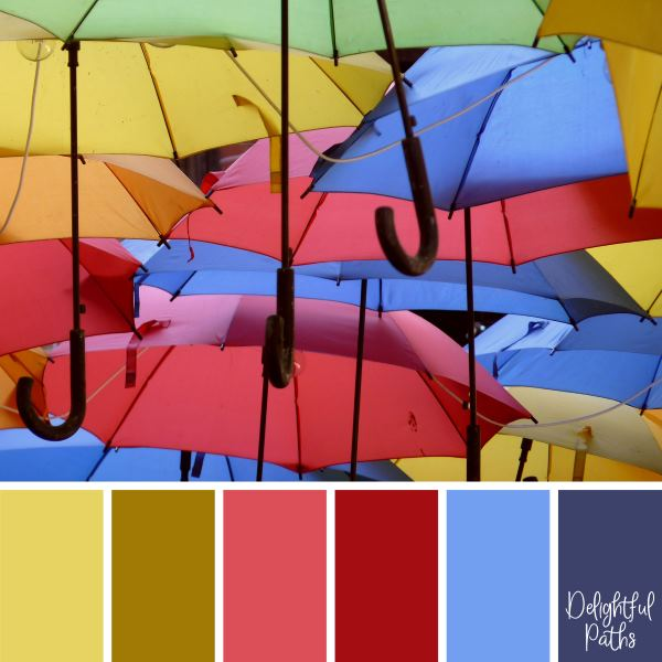 Colorful Hanging Umbrellas primary color palette DelightfulPaths.com