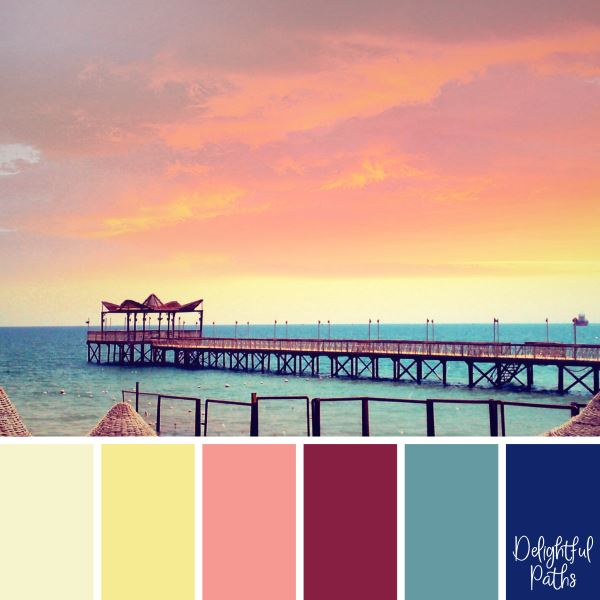 Sunrise by the Sea primary color palette DelightfulPaths.com