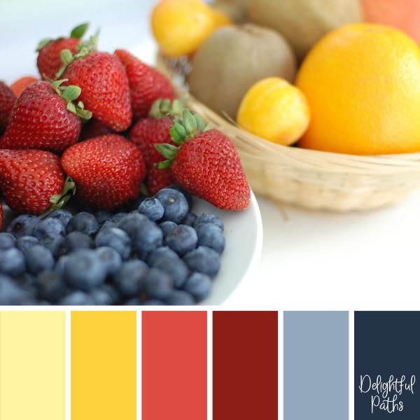 Lovely Fruit – Blueberries, Strawberries, Oranges, Plums, and Kiwifruit primary color palette DelightfulPaths.com