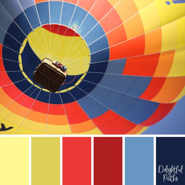 Hot Air Balloon primary color palette DelightfulPaths.com
