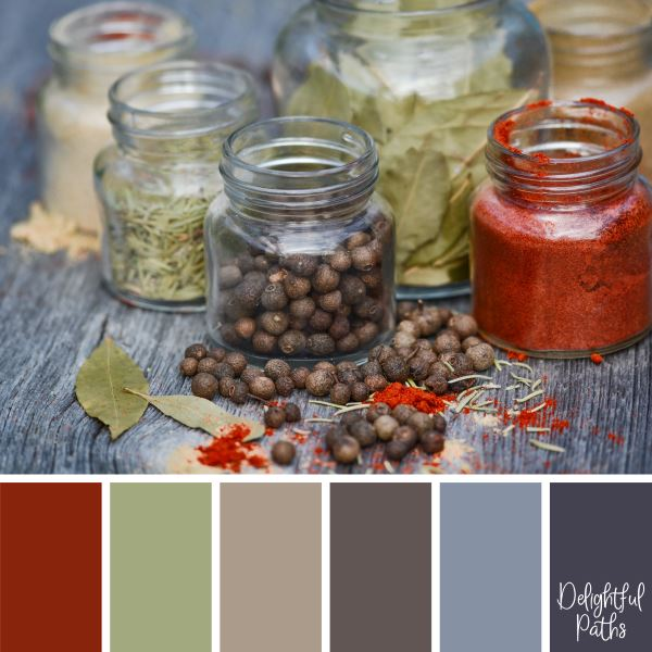 Spices in Jars rustic color palette DelightfulPaths.com