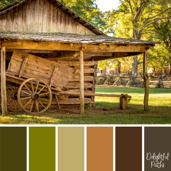 Old Cart Next to a Barn rustic color palette DelightfulPaths.com