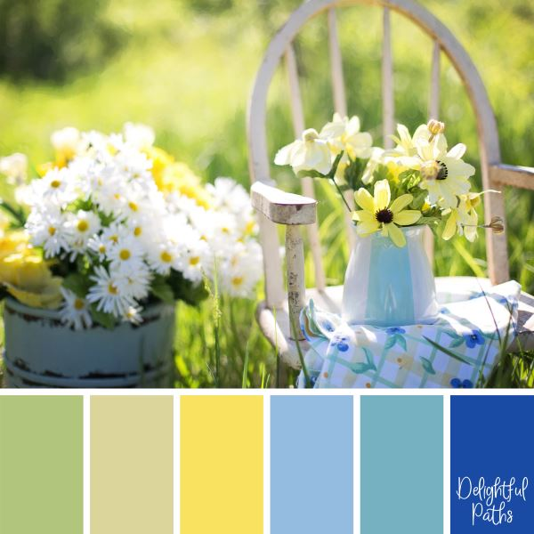 Vase of Flowers on an Old Chair - shabby chic color palette