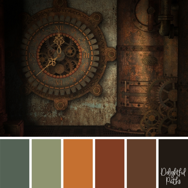 Big Clock with Gears steampunk color palette DelightfulPaths.com