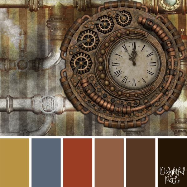 Roman Numeral Clock with Brass Pipes steampunk color palette DelightfulPaths.com