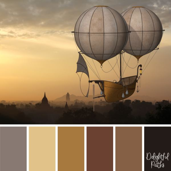 A Two-Balloon Airship steampunk color palette DelightfulPaths.com