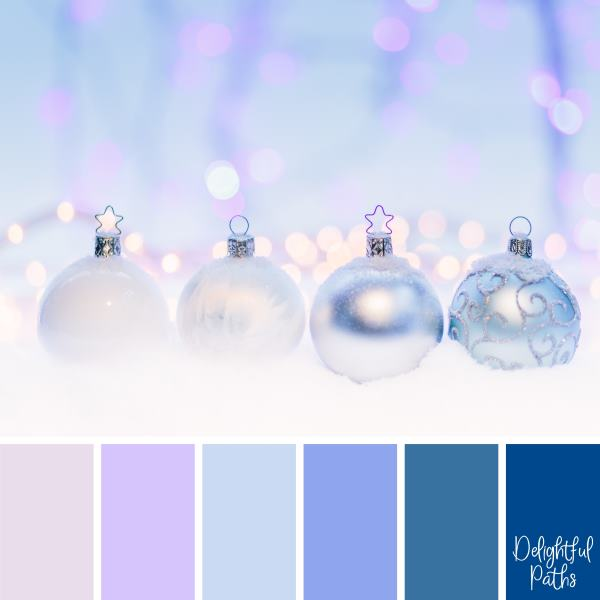christmas color palette - Silver Christmas Baubles DelightfulPaths.com