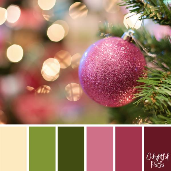 christmas color palette -Pink Christmas Bauble DelightfulPaths.com
