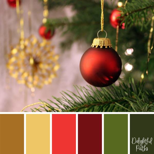 christmas color palette -Red Christmas Baubles DelightfulPaths.com