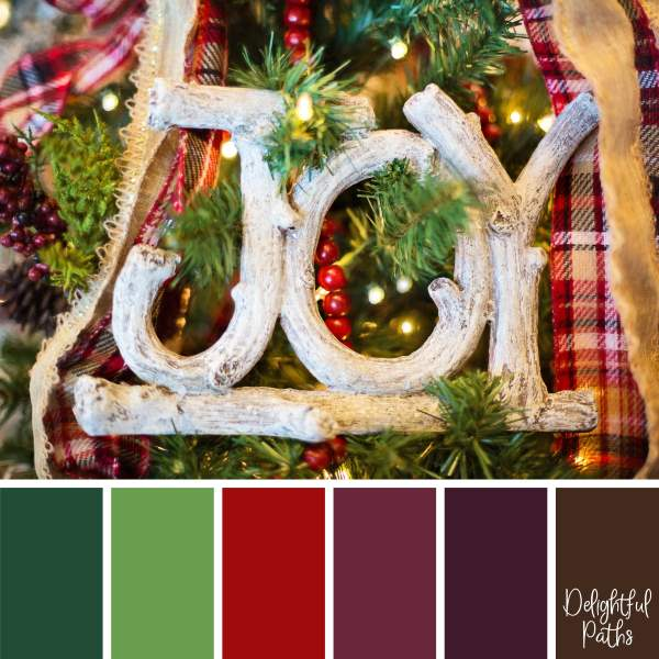 christmas color palette -Wooden Joy Decoration DelightfulPaths.com