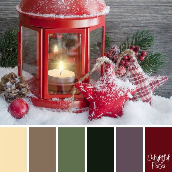 christmas color palette - Red Candle Lantern with Fabric Stars DelightfulPaths.com