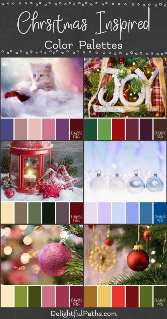 christmas color palettes from DelightfulPaths.com