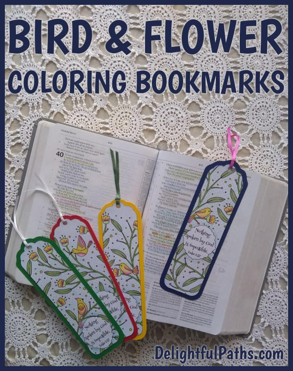 Bird and Flower Coloring Bookmarks DelightfulPaths