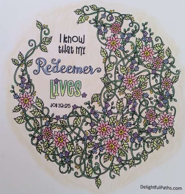 my redeemer lives coloring page job 19 colored DelightfulPaths