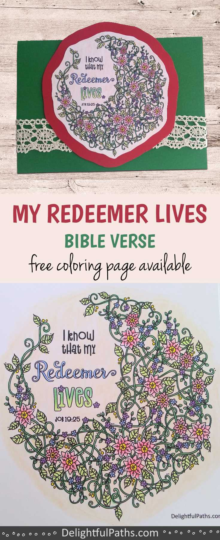 free printable my redeemer lives Bible verse coloring page DelightfulPaths