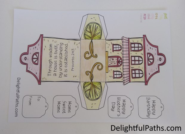 cute cottage coloring gift box colored DelightfulPaths