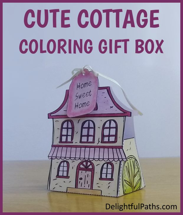 cute cottage coloring gift box with free coloring page DelightfulPaths