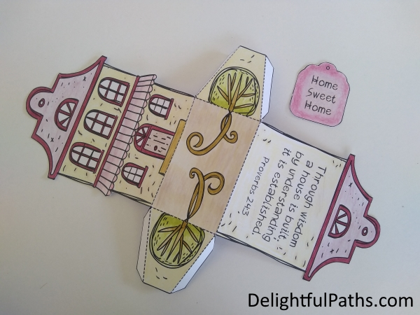 cute cottage coloring gift box cut out and score fold lines DelightfulPaths
