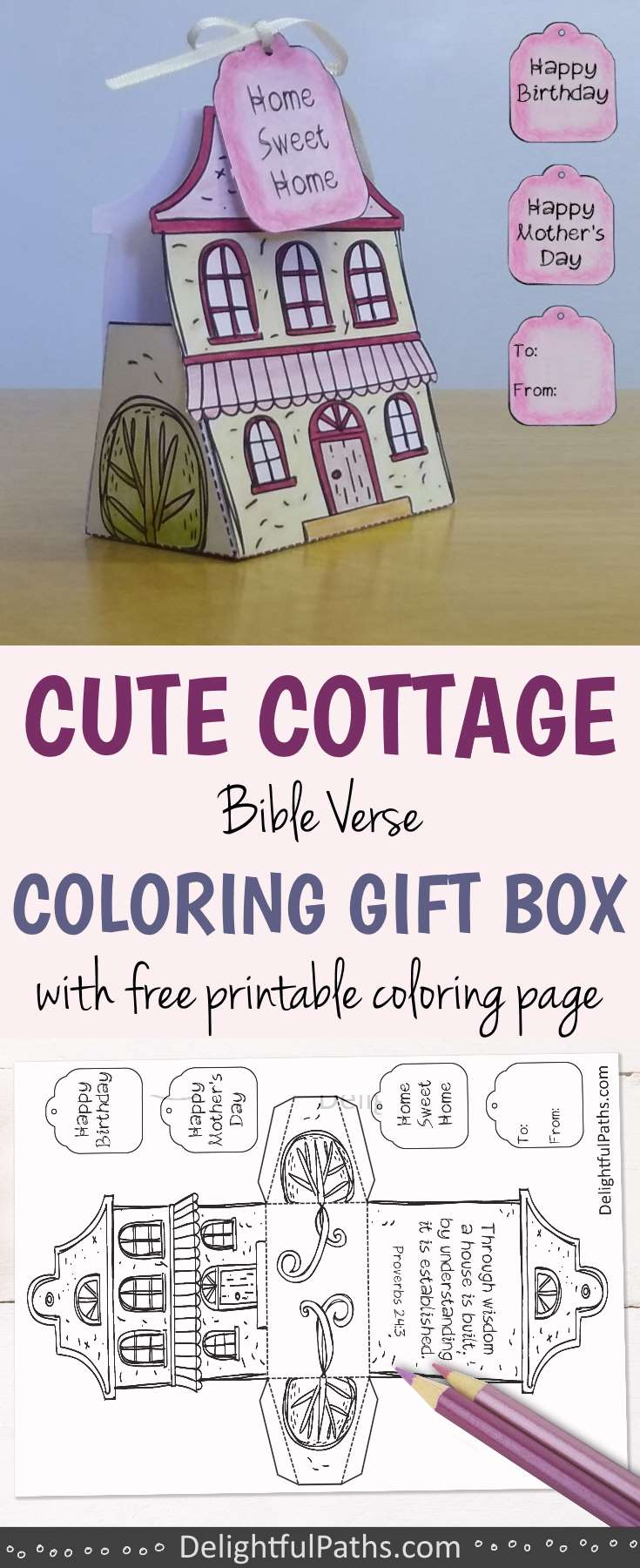 cute cottage coloring gift box with Bible verse and free coloring page DelightfulPaths