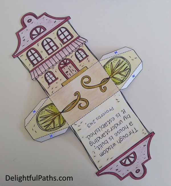 cute cottage coloring gift box stick tabs DelightfulPaths
