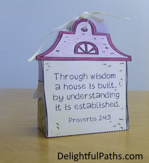 cute cottage coloring gift box with Bible verse on the back DelightfulPaths