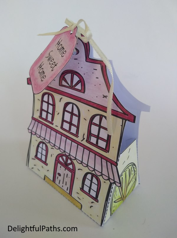 cute cottage coloring gift box with ribbon DelightfulPaths