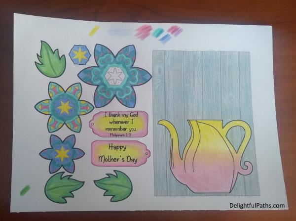 3D flower in vase mothers day coloring card Php 1-3 colored DelightfulPaths