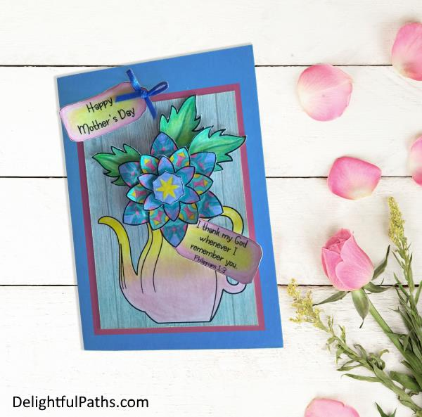 3D flower in vase mothers day coloring card Php 1-3 final DelightfulPaths