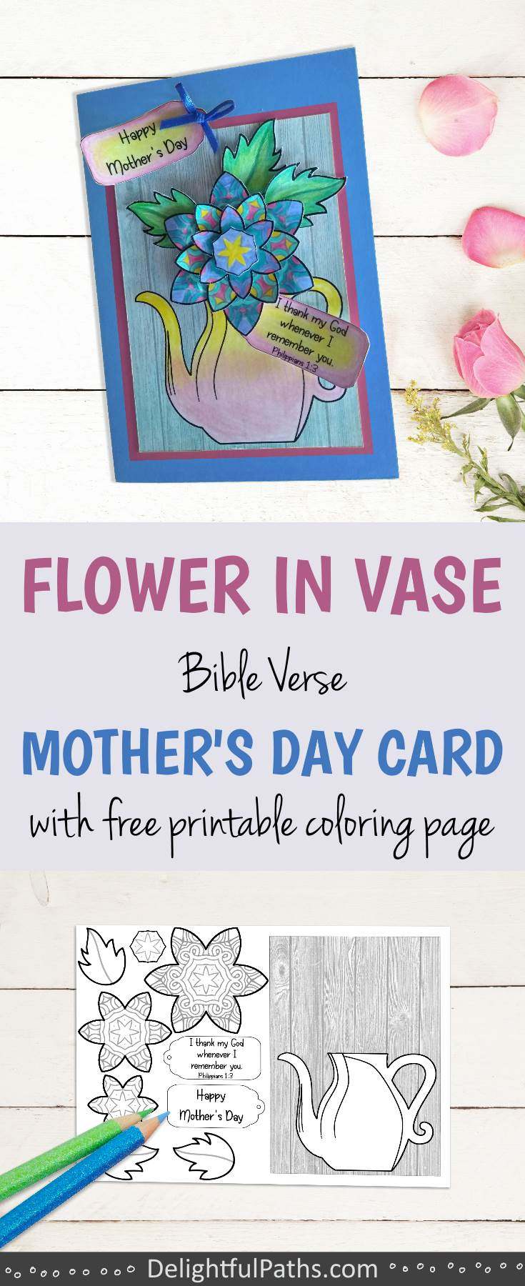 3D flower in vase mothers day coloring card with free template to download - DelightfulPaths