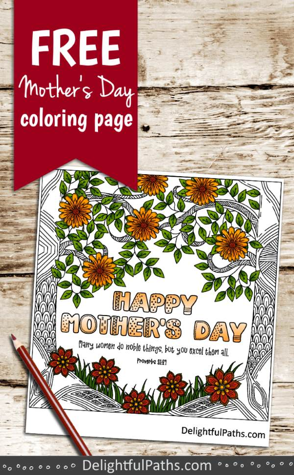 Forest flowers free mothers day coloring page Prov 31-29 pinterest DelightPaths