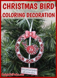 Adult Coloring Christmas Bird Decoration DelightfulPaths