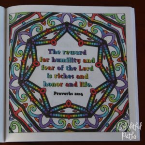 Proverbs adult coloring book from Delightful Paths Proverbs 22:4 ESV