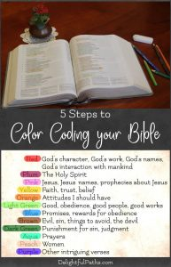 5 steps to color coding your Bible Delightful Paths