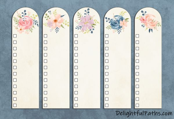 Free printable Bible color-coding watercolor bookmarks DIY categories DelightfulPaths