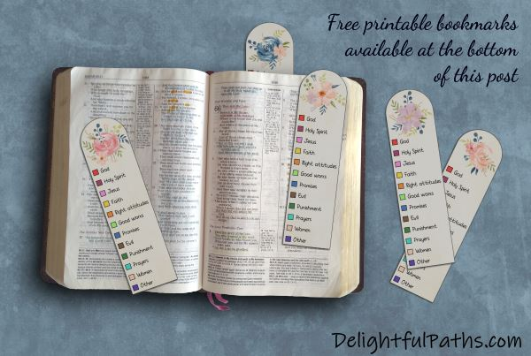 Free printable Bible color-coding watercolor bookmarks | DelightfulPaths