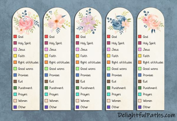 Free printable Bible color-coding watercolor bookmarks DelightfulPaths