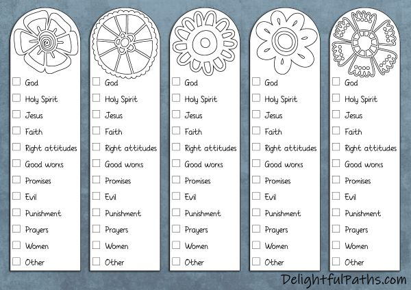 Free printable Bible color-coding coloring page bookmarks | DelightfulPaths