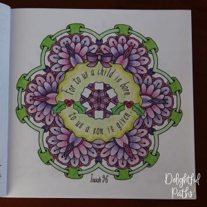 Christmas adult coloring book from Delightful Paths Isaiah 9-6 ESV
